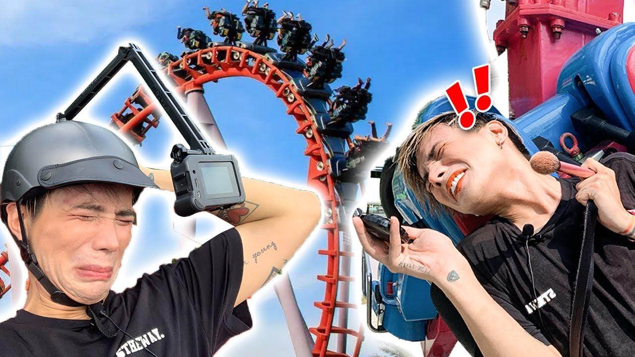 Thử thách Makeup Trên Tàu Lượn Siêu Tốc | Doing my Makeup on a Rollercoaster ! Ty Lê