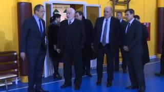 Протокольная съемка осмотра С.В.Лавровым нового комплекса Посольства России в Ашхабаде
