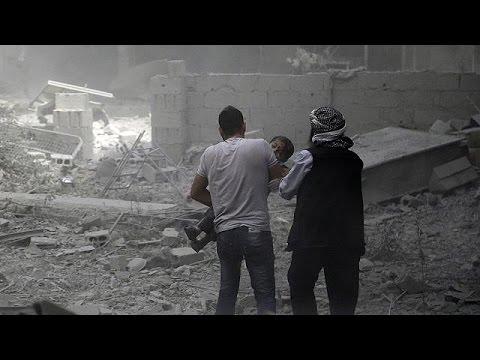 Syrian regime accused of bombing civilians in Damascus suburb