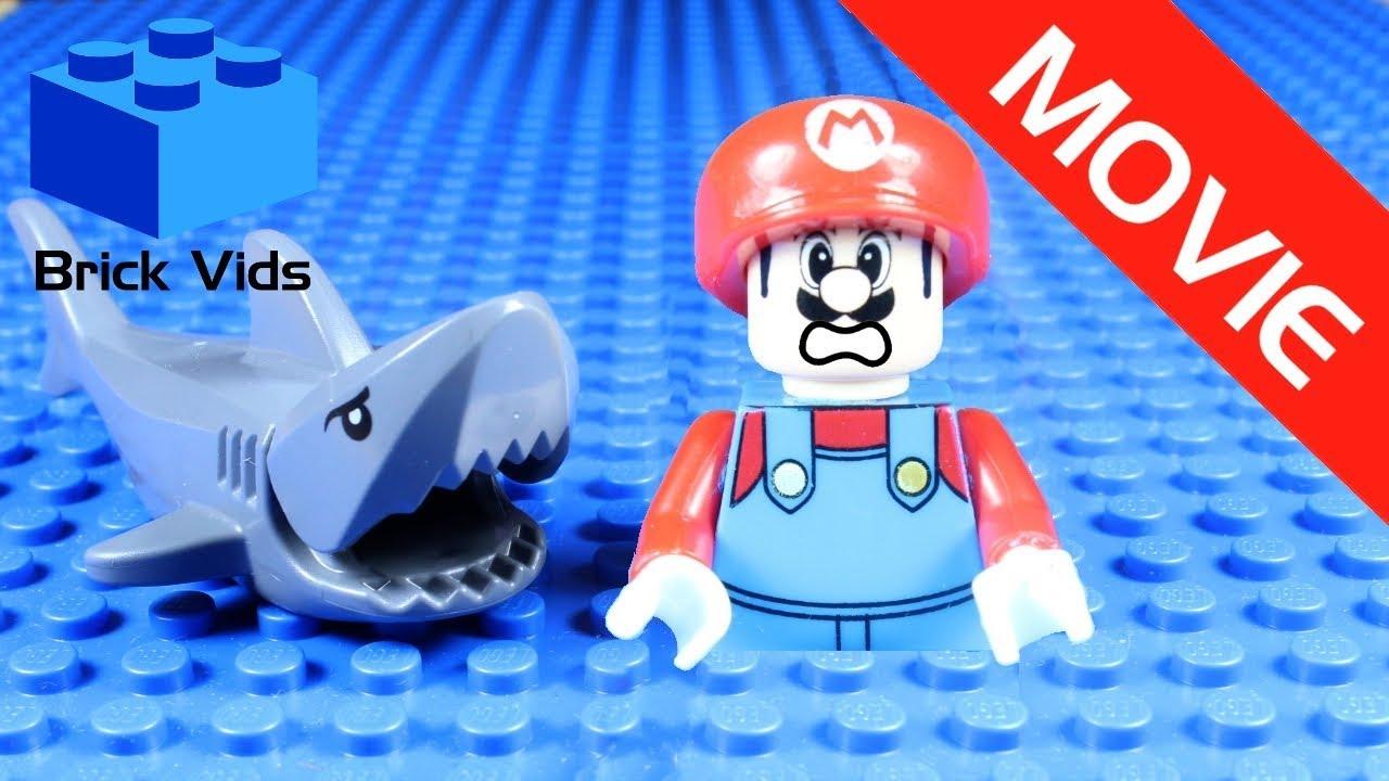 Lego Mario Shark Attack Funny Parody Movie Lego Mario Jaws Funny