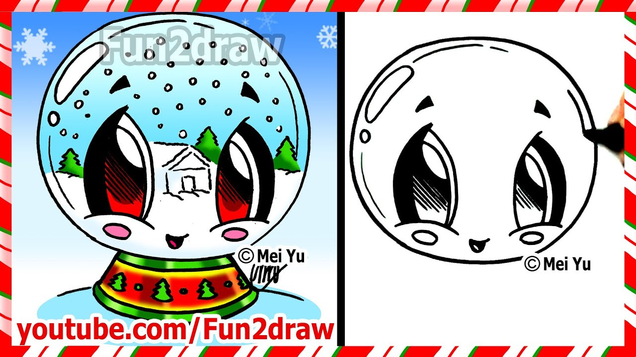 How to Draw Christmas Pictures - Snow Globe - Fun2draw winter ...