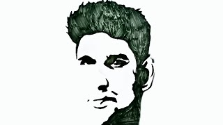 Sushant Singh Rajput Face Drawing with Black Marker | Sushant Singh Silhouette Tattoo sketch