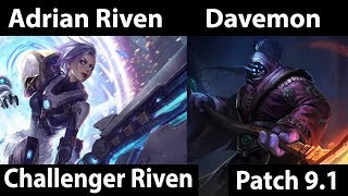 [ Adrian Riven ] Riven vs Jax [ Davemon ] Top  - Adrian Riven Preparing for battle Pepega