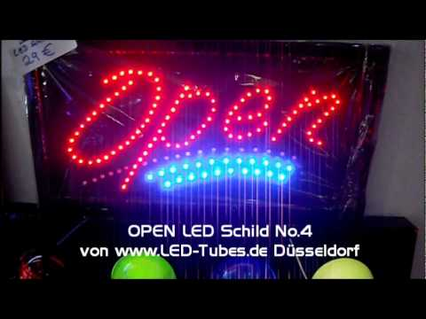 open led schild werbelicht ge ffnet led youtube. Black Bedroom Furniture Sets. Home Design Ideas