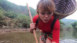 Survival Survival: The Girl Who Catches Big Fish Follows Her To Find Food, Great Fishing Skills