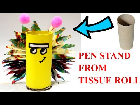 TISSUE ROLL CRAFT | BEST OUT OF WASTE COMPETITION IN SCHOOL | PEN STAND FROM WASTE MATERIALS