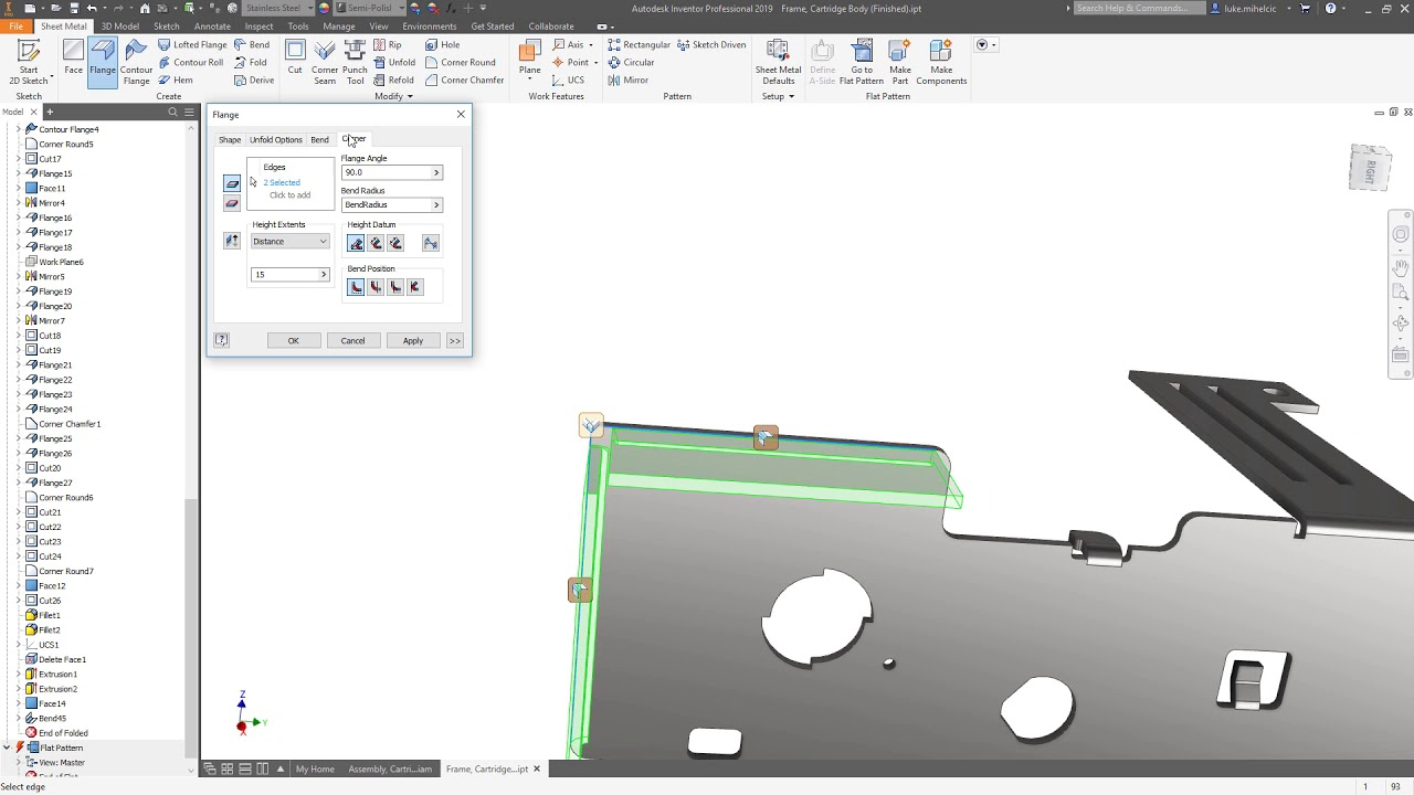 Inventor 2019 What S New Sheet Metal For Manufacturing