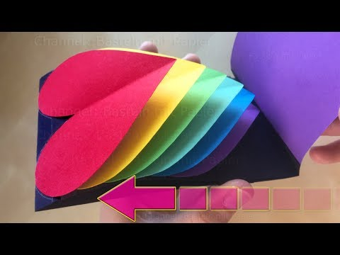 Pop-Up Card: Heart ❤ DIY Waterfall Card 🌈 Easy Tutorial ❤ Rainbow