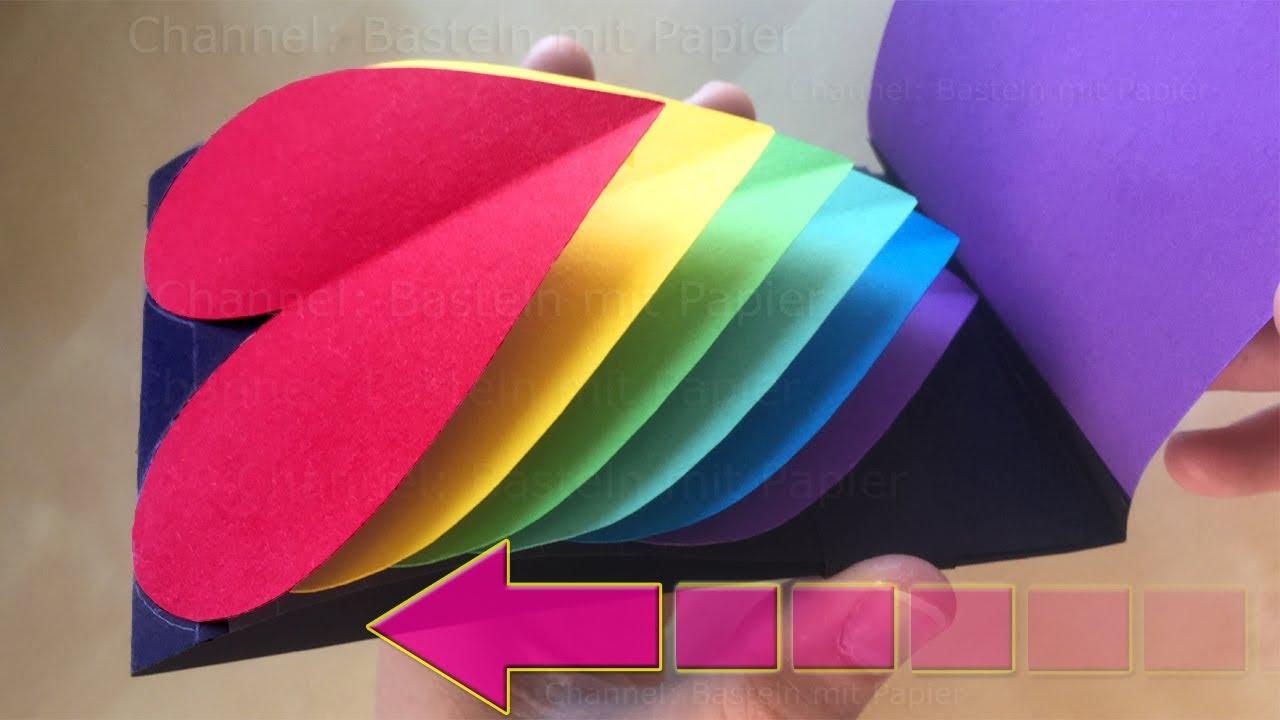 pop up karte basteln mit papier herz regenbogen d doovi. Black Bedroom Furniture Sets. Home Design Ideas