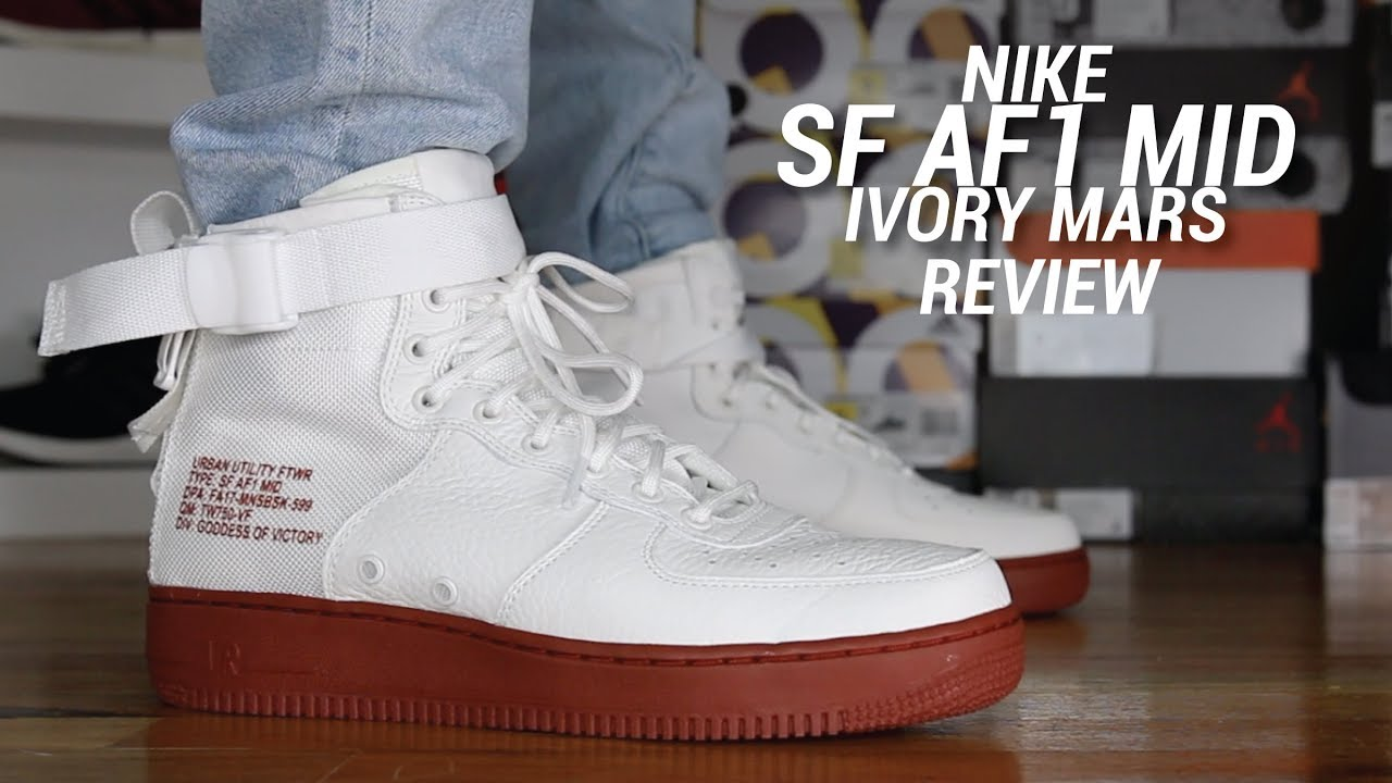 pretty nice 98cb5 2e65d NIKE SF AF1 MID IVORY MARS REVIEW - YouTube