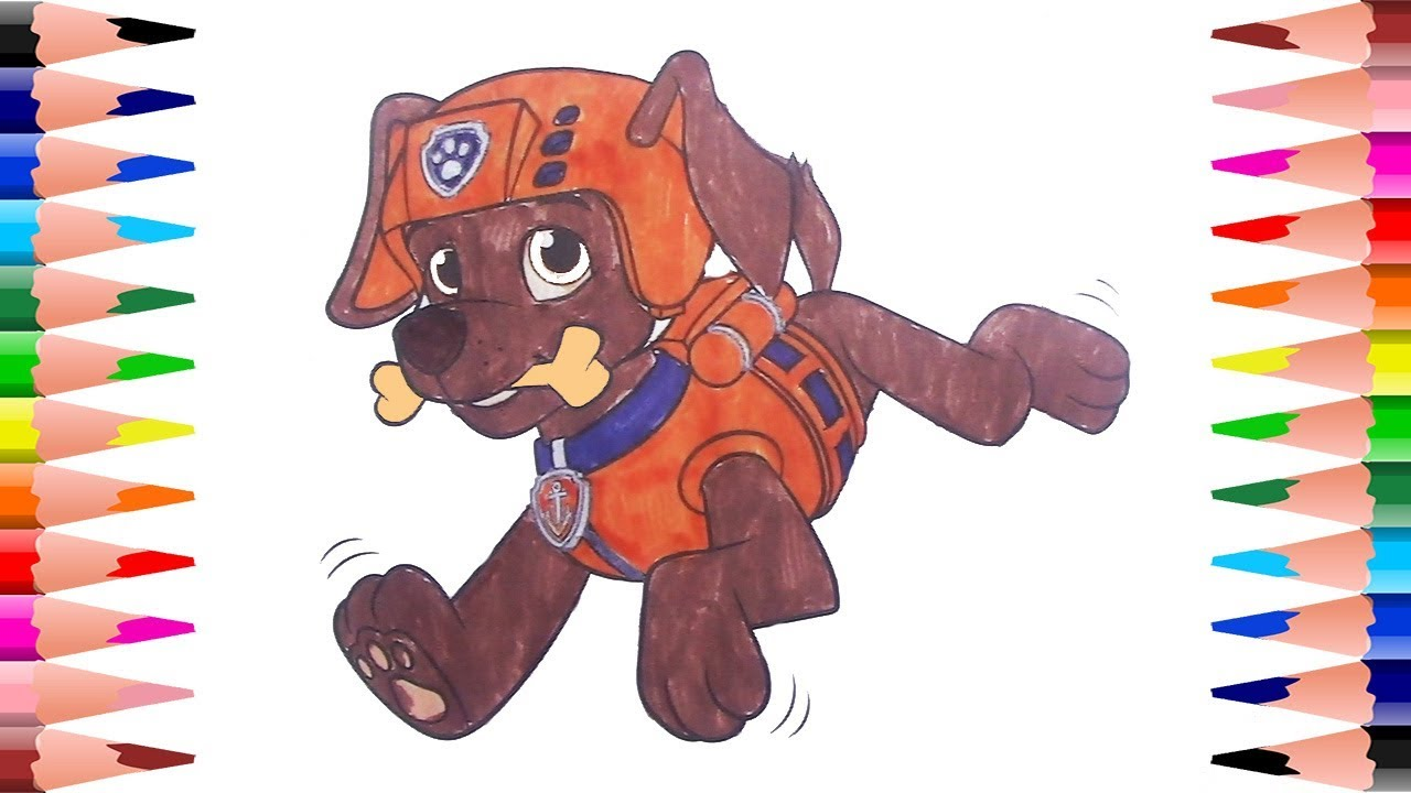 Painting Zuma Paw Patrol Coloring Pages For Kids Coloring For