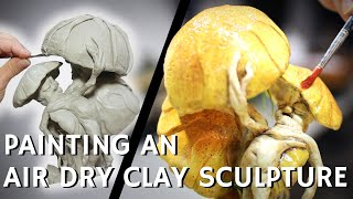 Painting an AIR DRY clay sculpture with ACRYLIC paint: Airbrush and Hand-Painting Techniques