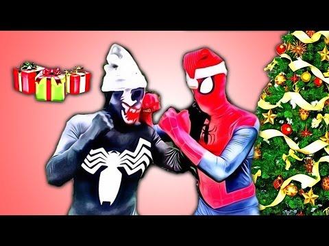 Spiderman Christmas Gifts Stolen? w battle vs Venom gifts for Frozen elsa Batman Chrismas love  IRL
