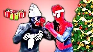Spiderman Christmas Gifts Stolen? w/ battle vs Venom gifts for Frozen elsa Batman Chrismas love  IRL
