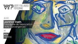 """VYP –  Laurence Dupin, Présidente  de l'association «Arts convergences"""" et le peintre Alix"""