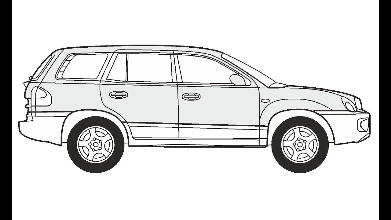 How to Draw a Hyundai Santa Fe / Как нарисовать Hyundai