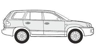 How to Draw a Hyundai Santa Fe / Как нарисовать Hyundai Santa Fe