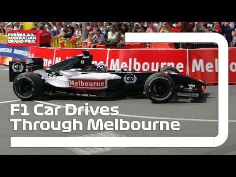 Formula 1 car goes for drive through Melbourne