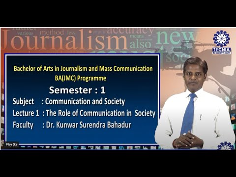 BA(JMC) || SEM 1 || LECTURE || THE ROLE OF COMMUNICATION IN SOCIETY || THE EDUCATIONAL SHOW