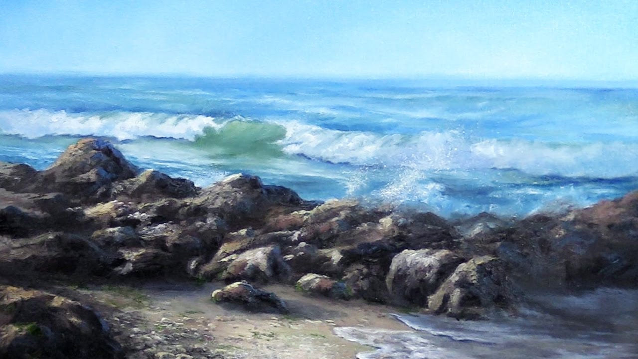 California Seascape | Ocean Wave & Rocks oil painting ...