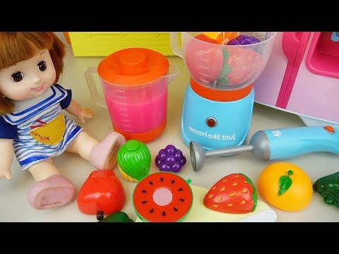 Baby doll fruit juice mixer and kitchen toys Baby Doli play