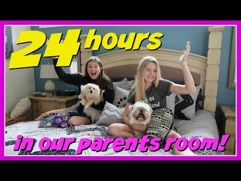24 HOURS OVERNIGHT CHALLENGE IN OUR PARENTS BEDROOM    Taylor and Vanessa