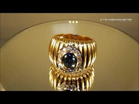 Anel com Safira e Diamantes -- 10x R$ 915,00