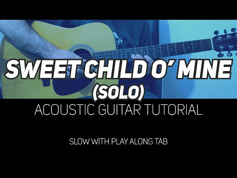 Sweet Child O' Mine solo tutorial for Acoustic Guitar (WITH TAB)