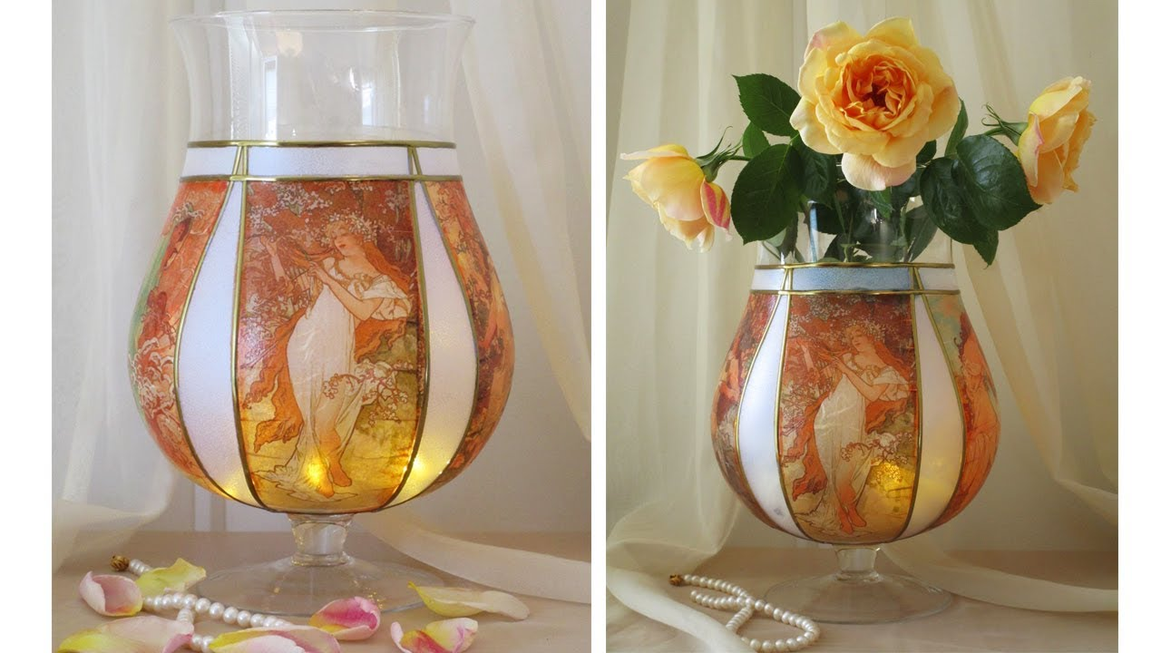DIY Flower Glass Vase , Decoupage On glass Tutorial