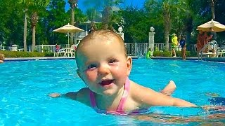 BABY LEARNS TO SWIM!