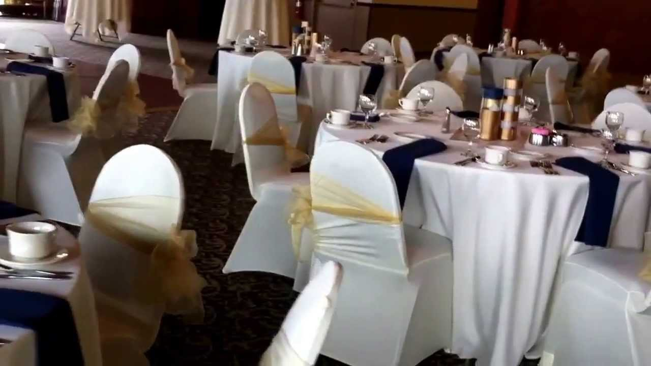 Ivory Navy and Gold Wedding Windows on the River Linens by us - YouTube