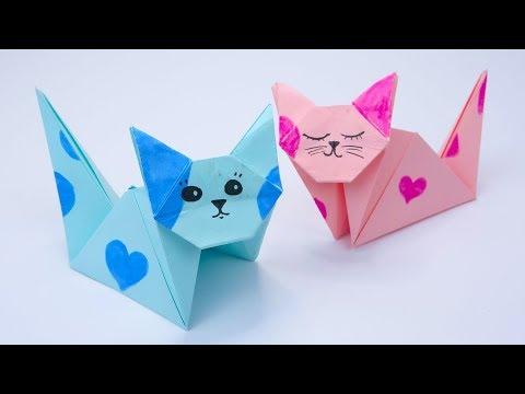 36) ORIGAMI - How to make the Origami CAT - YouTube (com imagens)   360x480