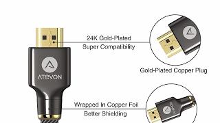 Premium Quality HDMI Cable Review - LIfetime Warranty - Atevon Nylon Braided