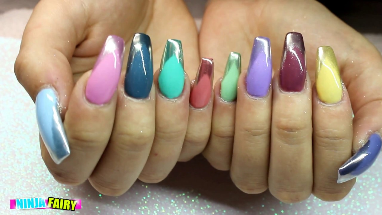 Acrylic Nails Coffin Chrome Tip Multicolour Gel Polish Infill And Lication You