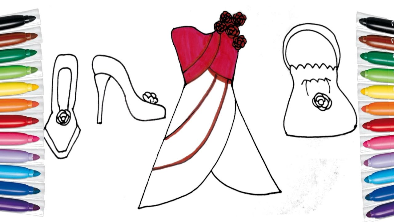 How To Draw And Color Barbie Dress Bag Shoes For Girls Coloring Page