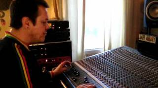 """Dougie Conscious mixing """"Slave Driver"""" by Junior """"Willow"""" Wilson at Conscious Sounds Studio"""