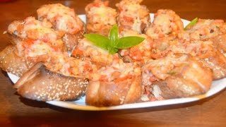 Recipe For Making Shrimp Bruschetta Using Tomatoes, Basil, And Extra Virgin Olive Oil