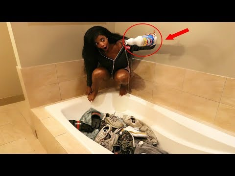 BLEACHING ALL OF HIS CLOTHES & SHOES PRANK gone wrong!!!