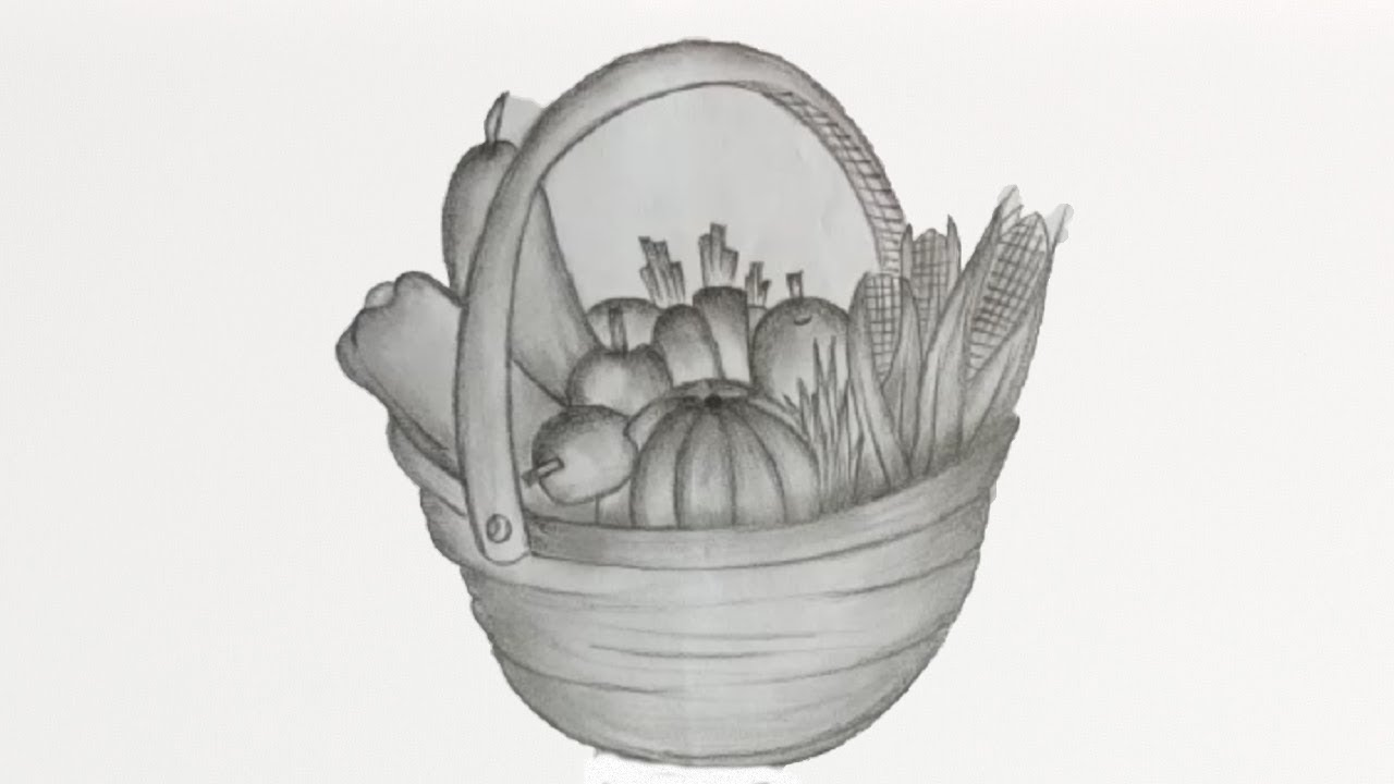 How to draw a vegetable basket with pencil shading