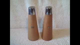 Vintage 1960 Wooden Salt And Pepper Shakers & Has Stoppers Used