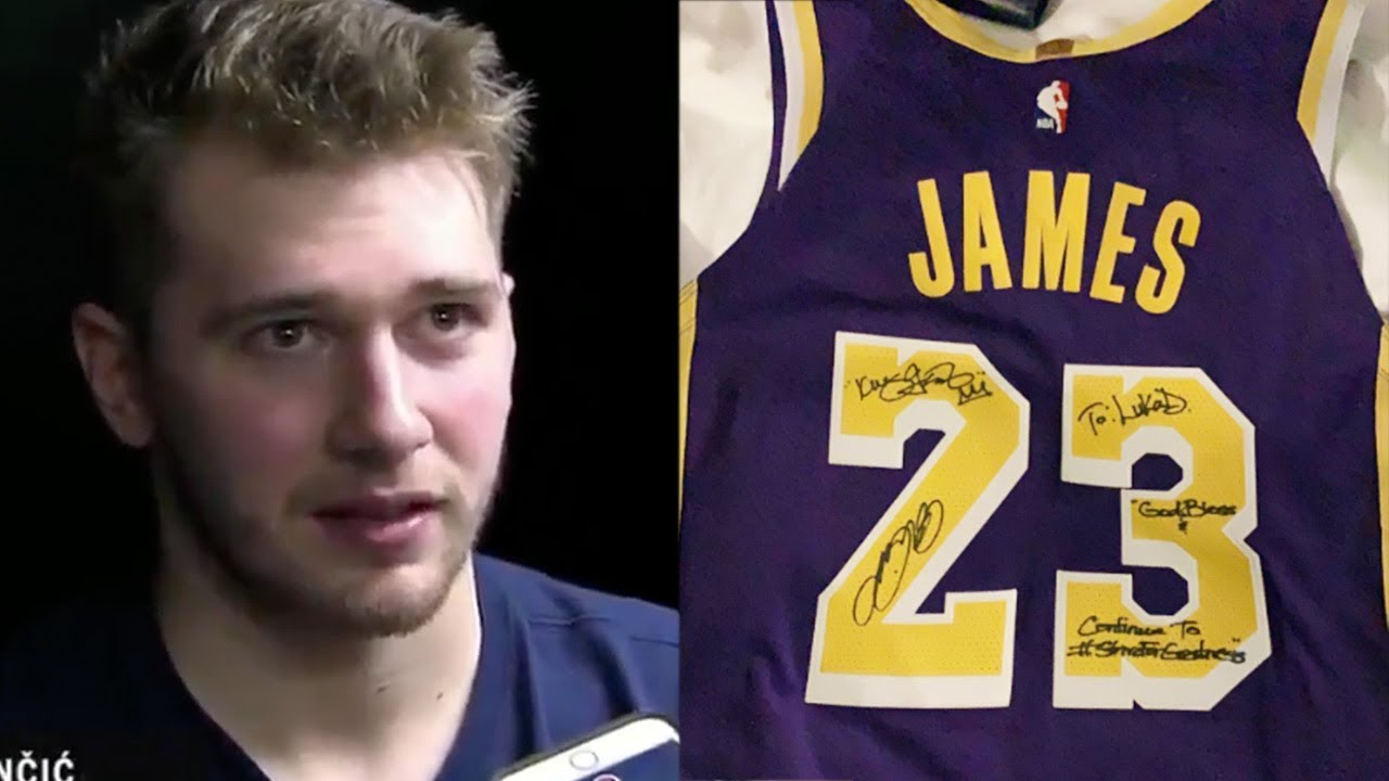 new product 53e14 f9da5 Luka Doncic GIFTED LeBron James Jersey After Losing To Lakers!