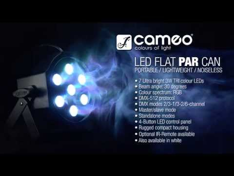 Cameo Light FLAT PAR CAN - 7 x 3W TRI Colour LED PAR CAN RGB IR WH