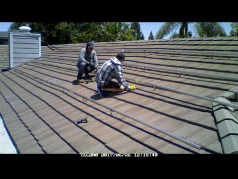 Time Lapse Solar Panel Installation Flat Tile Roof Northridge CA
