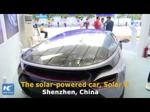 Solar-powered car on display in Shenzhen
