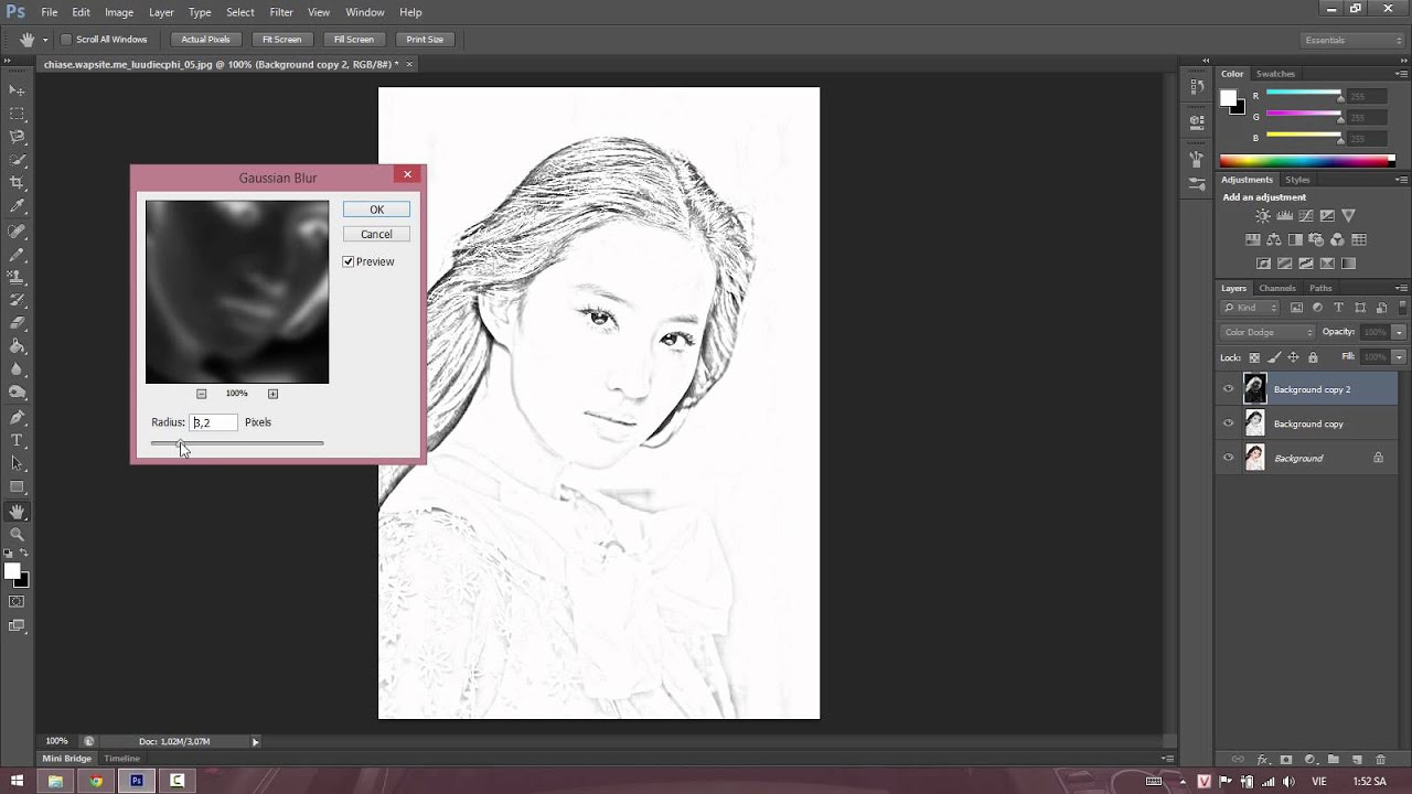 Tranh vẽ bút chì – Photoshop CS6 – Hướng dẫn
