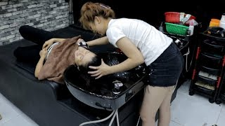 Barber Shop Shampoo & Face Massage by Beautiful Girl in Vietnam