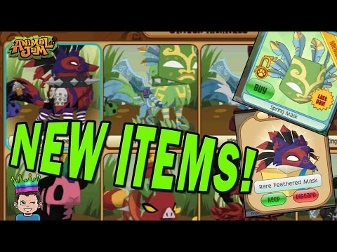 NEW! SPRING TIKI & RARE FEATHERED MASK - TODAY ONLY ON ANIMAL JAM!