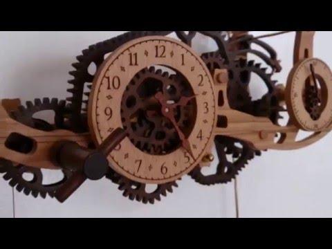 Wooden wall clock with non circular gears