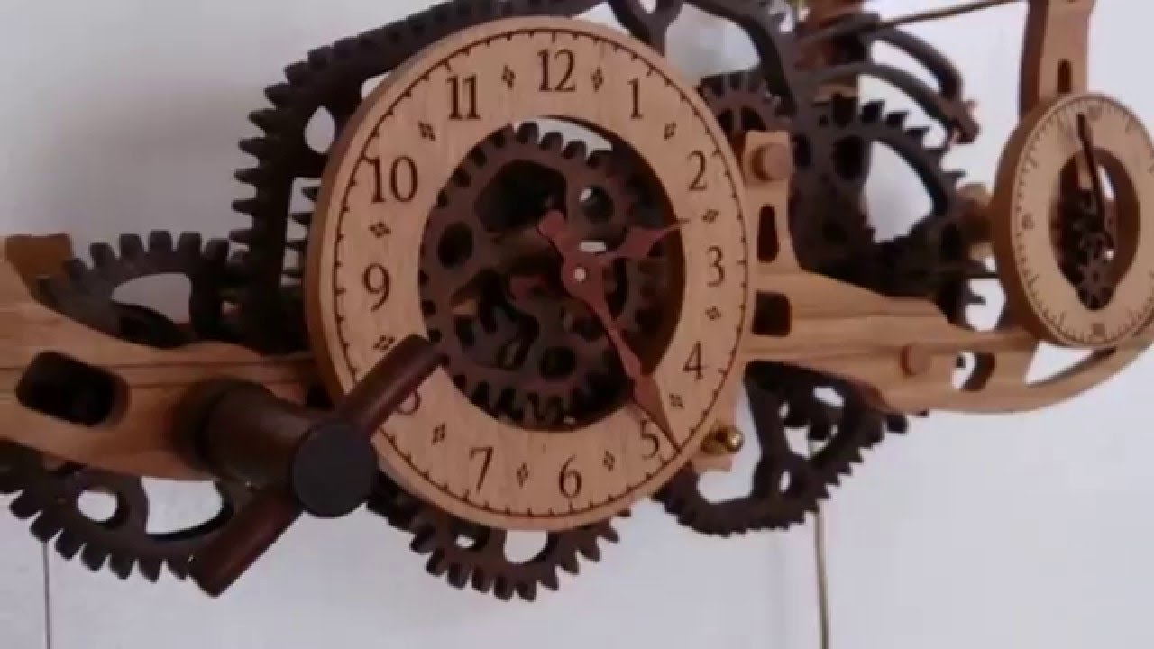 Wooden wall clock with non circular gears YouTube