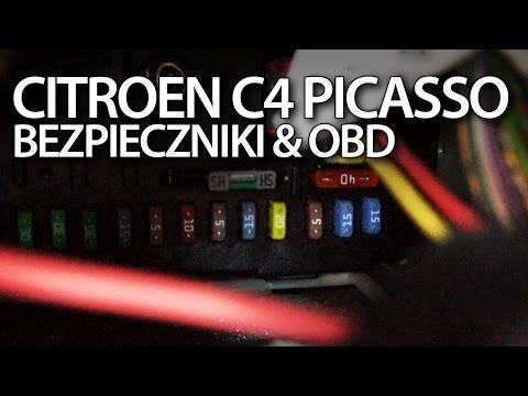 Citroen C4 Picasso Bezpieczniki I Port OBD2 Lokalizacja